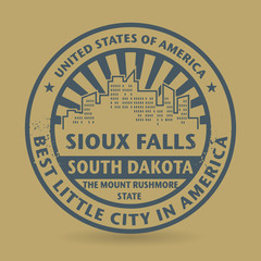 Grunge rubber stamp with name of Sioux Falls, South Dakota