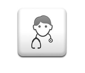 Boton cuadrado blanco medico 3D