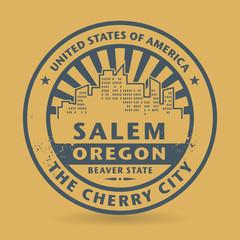 Grunge rubber stamp with name of Salem, Oregon