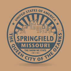 Grunge rubber stamp with name of Springfield, Missouri