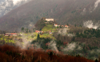 Foggy Kostel castle, Slovenia, central Europe