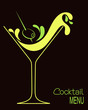 Cocktail glass with abstract splashes and olive - 76036007
