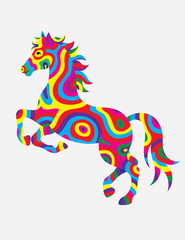 Horse abstract colorfully, art vector illustration