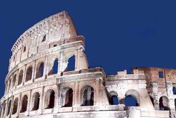 The ruins of the Colosseum in Rome, Italy.