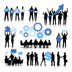 Silhouettes of Business People with Teamwork Concepts