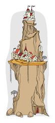 Cartoon village, fairy tale, vector