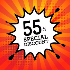 Explosion with text 55 percent, Special Discount, vector