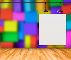 Blank frame on Colorful Box wall for information message