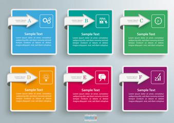 6 Squares Arrows Infographic