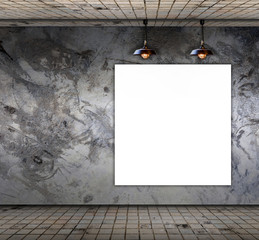 Blank frame on Grungy concrete wall with floor tile