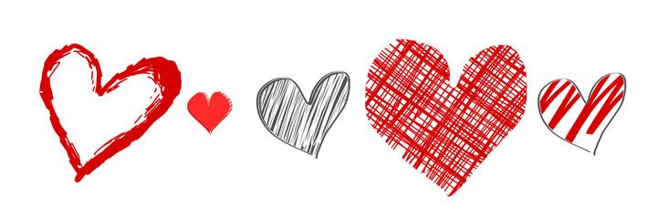 skizzen hearts herzen banner set
