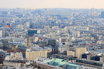 Panorama of beautiful buildings in Paris from Eiffel tower