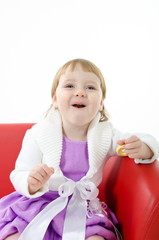 girl eating bublik, biscuit bites