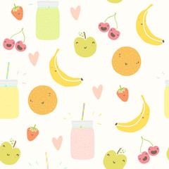 Smoothie pattern with funny fruits.