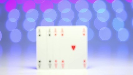 Ace play card on blurry colorful background as success concept
