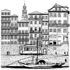 Portugal, old Porto and traditional boat