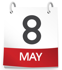 8th May Calendar Date Reminder Concept