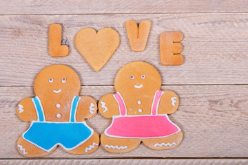"Gingerbread men and the word ""love"". Homemade cookies"