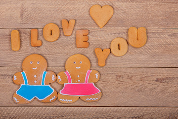 "Gingerbread men and the words ""I love you"". Homemade cookies"