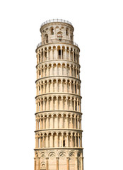 Leaning tower of Pisa, Italy. Isolated on white