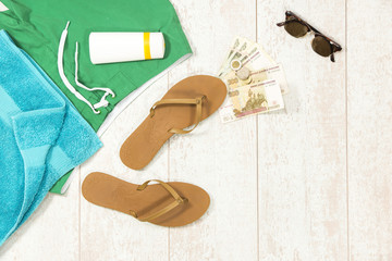 Beach Supplies With Money On Floorboard