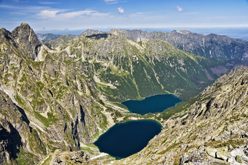 View of the lake in the valley of  Polish mountains, Tatras