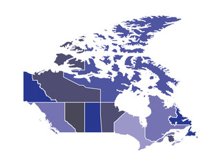 Outline with regions of the Country of Canada