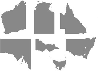 Outline with regions of the Country of Australia