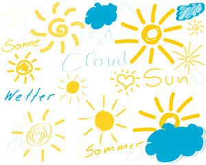 skizzen sonne wolken wetter gelb blau