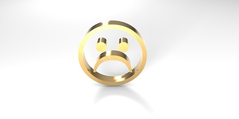 Smiley Traurig Gold 3D
