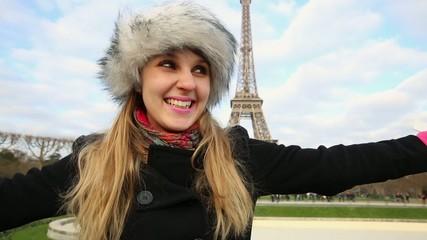 Eiffel Tower tourist in Paris, France.