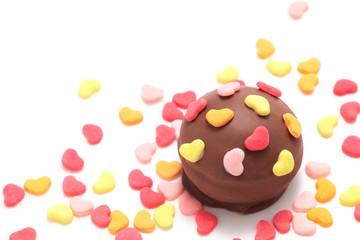 Valentine chocolate on white background