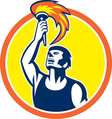 Athlete Player Raising Flaming Torch Circle Retro
