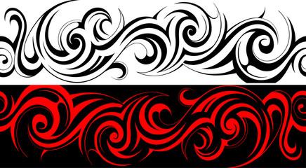 Seamless tribal tattoo pattern line