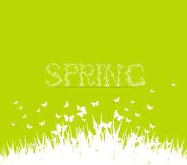 Green spring with floral font