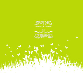 Green spring with coming soon floral