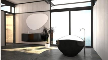 Modern stylish black and white bathroom interior