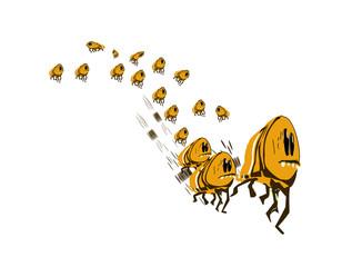 Large group of fleeing fleas