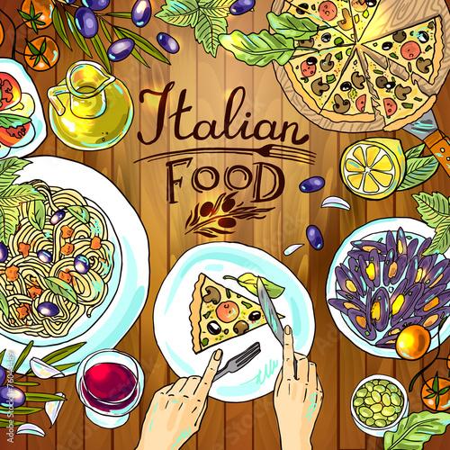 italian food on the wood textu - 76043489