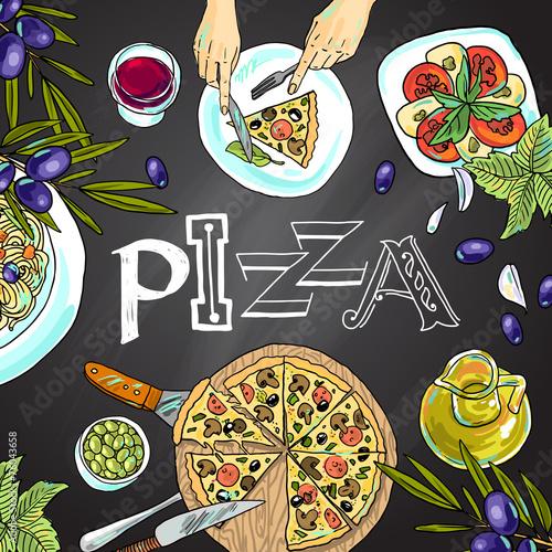 chalk board with italian food - 76043658
