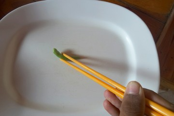 Use chopsticks to clamp asian foods