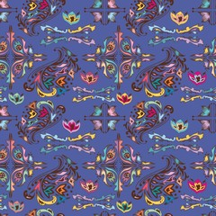 Colorful pattern with islamic vignettes