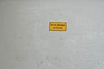 Unrat abladen verboten