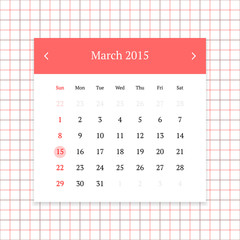Calendar page for March 2015