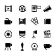 Simple Black and White Video Icon Set
