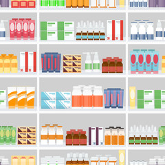 Various Pills and Drugs on Shelves