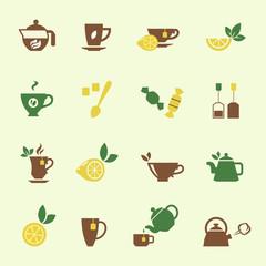 Attractive Tea Time Icon Set Designs