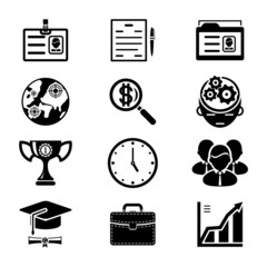 Vector Black Silhouette Business Icons Set