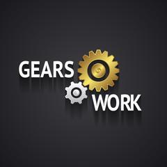 Elegant Gear Logo Design on Gray Background
