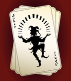 Joker silhouette on playing cards